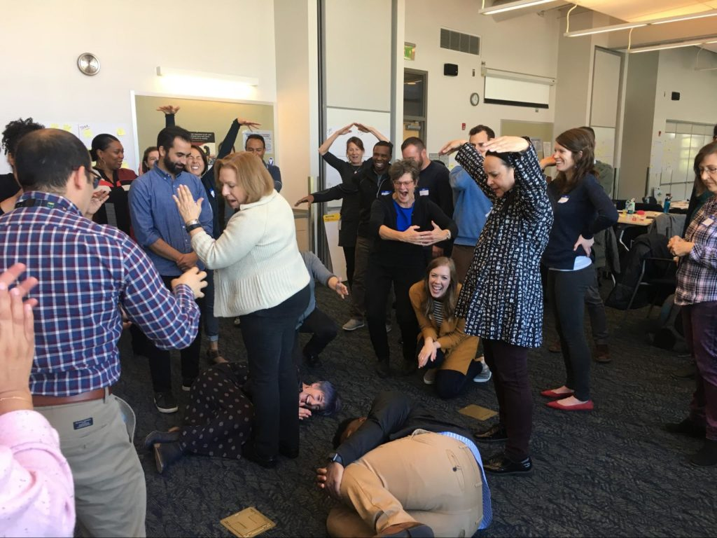 Some fun improv exercises rev up the team for creativity and collaboration.